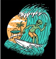 Aliens surfing on the beach vector