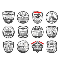 Ancient egypt culture cairo landmarks travel icons vector