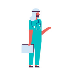 arab man holding clipboard medical doctor vector image