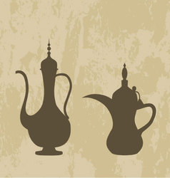 Arab old jug and coffee pot vector image