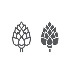 Artichoke line and glyph icon vegetable vector