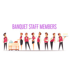 Banquet staff members cartoon vector