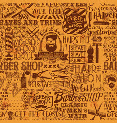 Barber shop elements and icon patchwork background vector