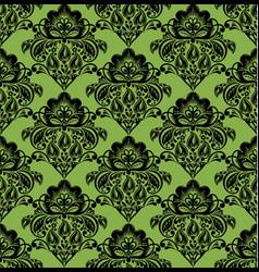 Black hohloma on greenery seamless pattern vector