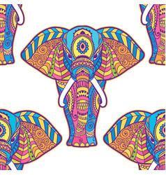 Boho elephant pattern floral vector