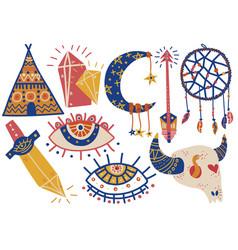 boho style symbols set indian tent buffalo skull vector image