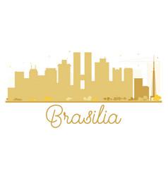 Brasilia city skyline golden silhouette vector