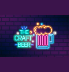 bright glowing neon light craft beer sign vector image