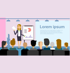 Business woman leading presentation or conference vector