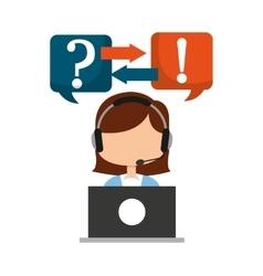 Call center operator avatar vector