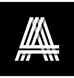 Capital letter A Made of three white stripes vector