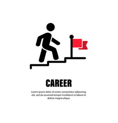 Career line icon businessman walking upstairs to vector