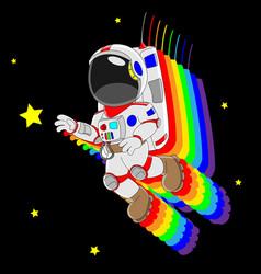cartoon astronaut flying vector image