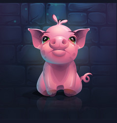 cartoon pig on a brick wall background vector image