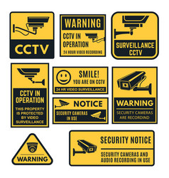 Cctv warning sign set video system control vector