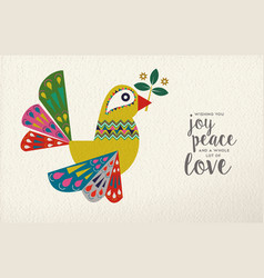 Christmas and new year dove bird folk art card vector