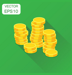 coins money stack icon business concept coin vector image