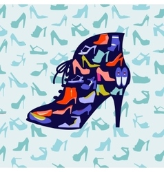 Colorful texture of fashion female shoes vector image