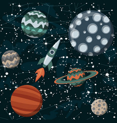 comic space with planets and spaceships rocket vector image