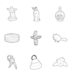 Country Canada icons set outline style vector