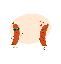 couple of sausage characters in sunglasses thumb vector image