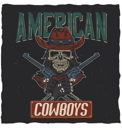 Cowboy t-shirt label design vector