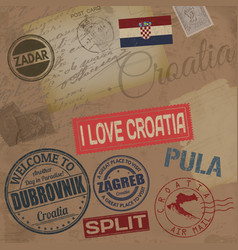 croatia travel stamps vector image
