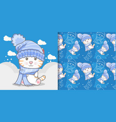 cute cat on winter with pattern set vector image