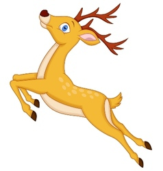 Cute deer cartoon jumping vector image