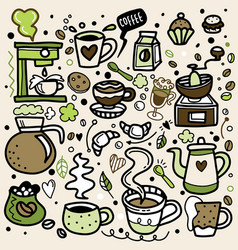 Cute doodle coffee shop icons outline coffee vector