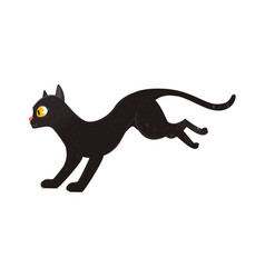 cute fluffy black cat running side view portrait vector image