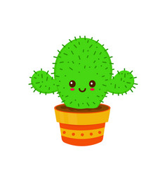 cute smiling happy funny cactus vector image
