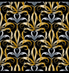 Damask gold silver 3d seamless pattern vector