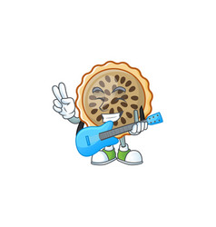 Design pecan pie with guitar with seeds topping vector