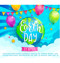 earth day congratulation banner for celebration vector image