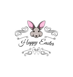 Easter bunny swirls filigree elements vector