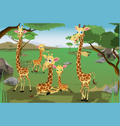 Family giraffes vector