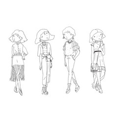 Fashion girls set hand drawn creative vector