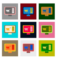 Flat assembly icons of computer sale online buying vector