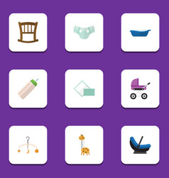 flat icon kid set of nappy feeder stroller and vector image