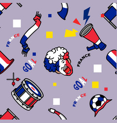 france soccer supporter gear seamless pattern vector image