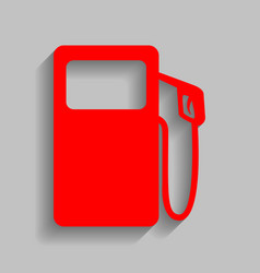 Gas pump sign red icon with soft shadow vector