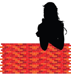 Girl leaning against wall vector