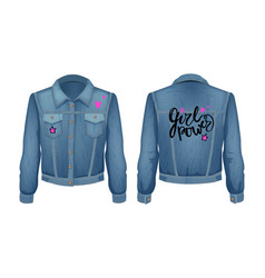 girl power denim jacket patch vector image