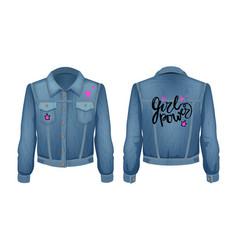 Girl power denim jacket patch vector