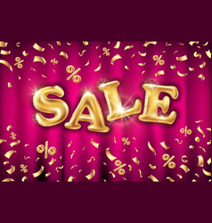 Glitter gold grand sale balloon sign and falling vector
