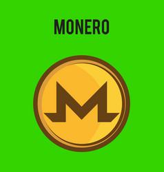 Golden monero coin crypto currency blockchain vector