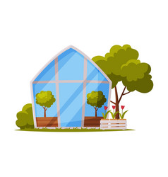 Greenhouse with glass walls and plant growing in vector