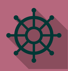 Hand drawn ships wheel in line art style vector