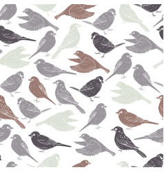 Hand drawn sparrows seamless pattern vector